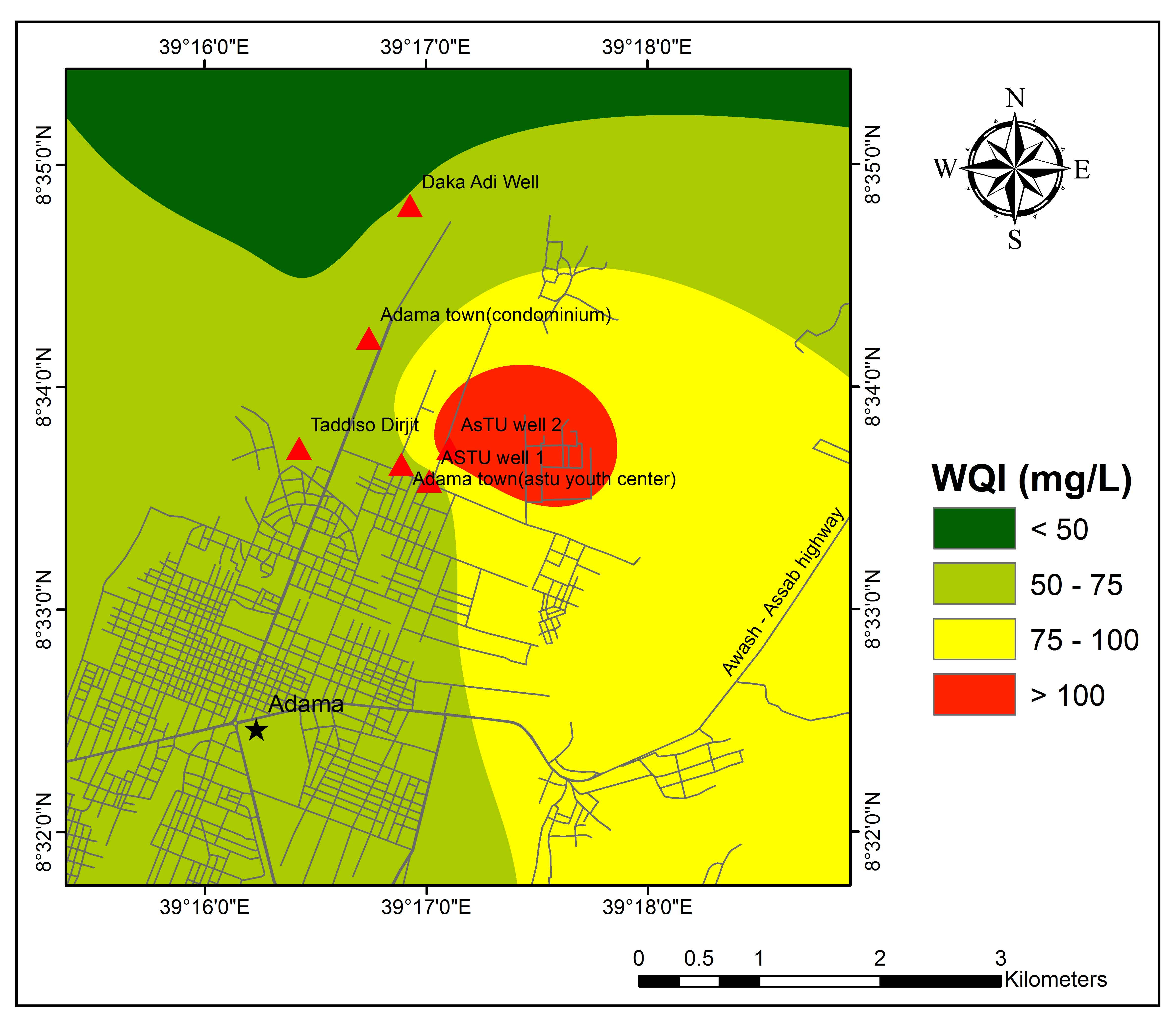 Groundwater Quality Assessment Using Geospatial Techniques and WQI in North East of Adama Town, Oromia Region, Ethiopia