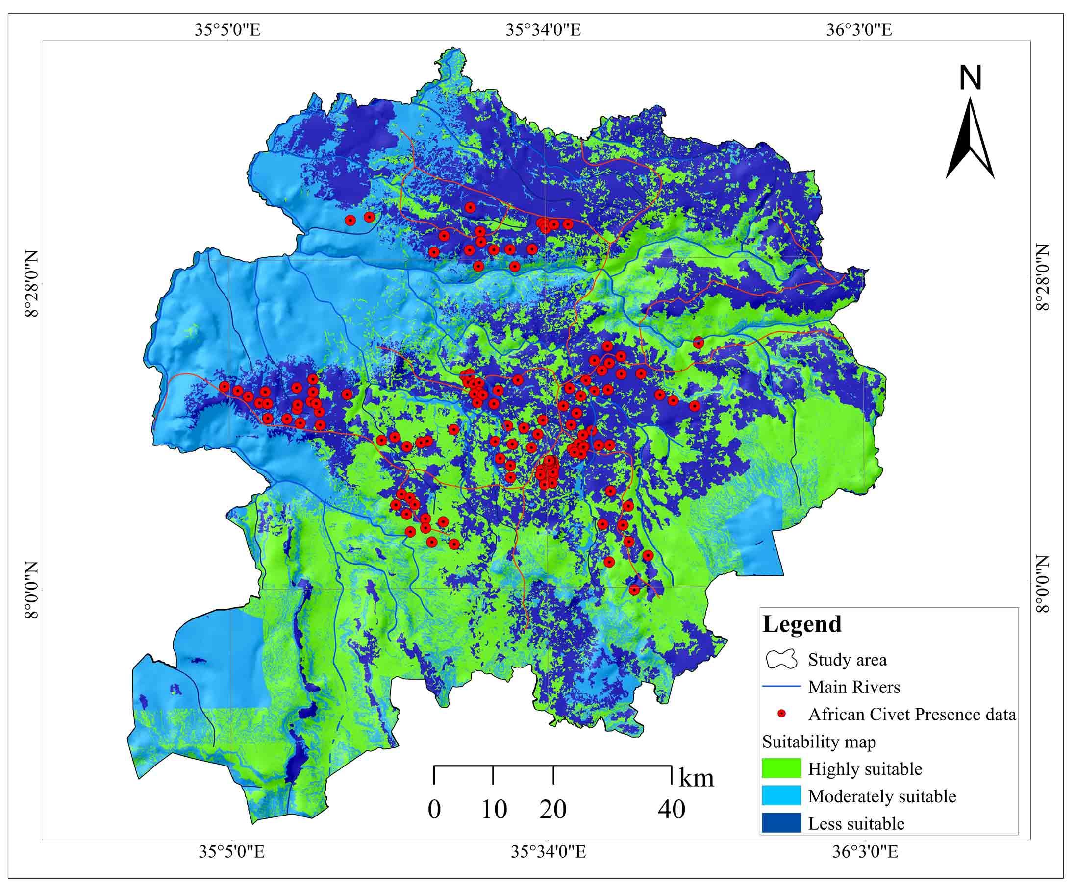 African Civet Habitat Mapping in Illu-Abbabora Zone, Southwest Ethiopia: Geospatial Approach