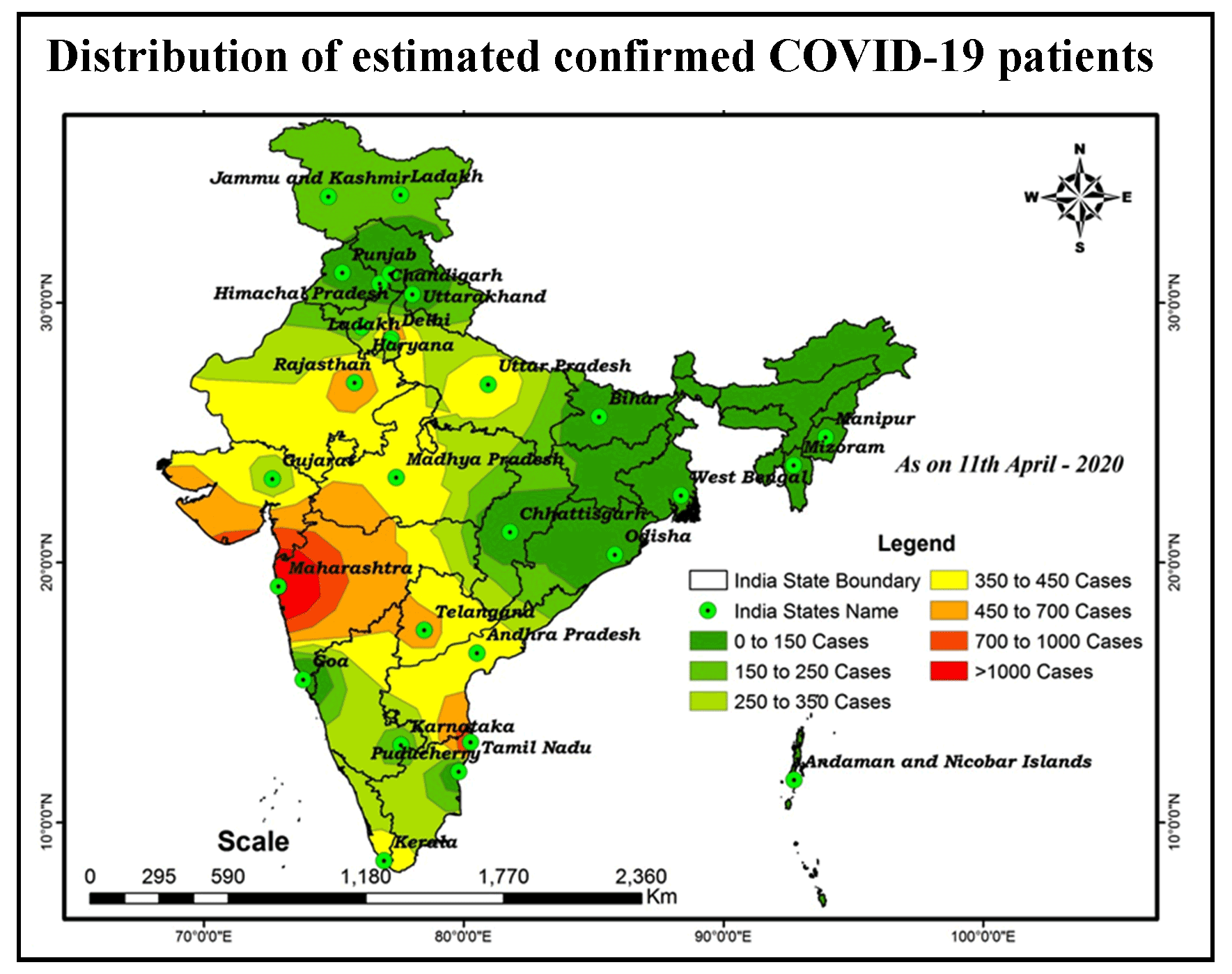 Distribution and Trend Analysis of COVID-19 in India: Geospatial Approach