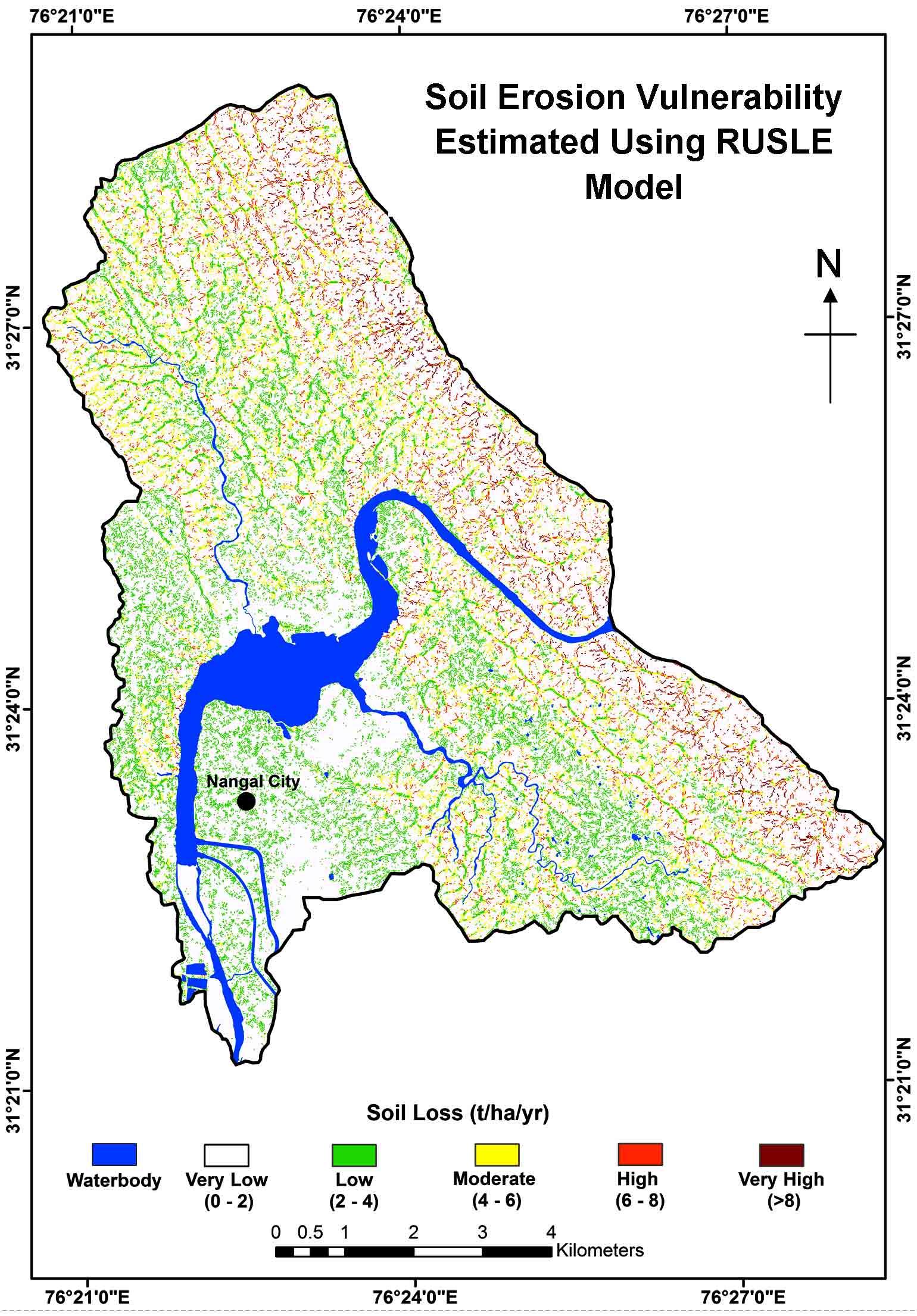 Modeling Soil Erosion Vulnerability Using RUSLE: A Case Study Upstream of Nangal Reservoir, India