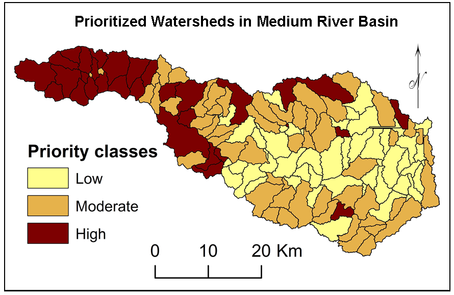 Multi-criteria Prioritization for Sub-watersheds in Medium River Basin using AHP and Influence Approaches