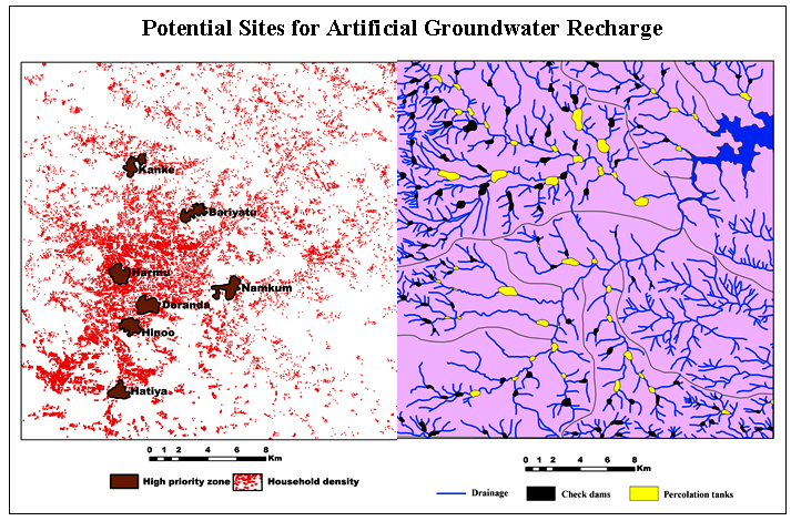 Feasibility of Artificial Groundwater Recharge Structures for Urban and Rural Environment of Ranchi in India using Geospatial Technology
